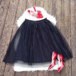 Dresses & Skirts - Elegant and Fun Pleated Black Tulle Skirt